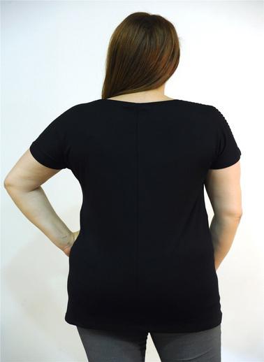 Optique Knitwear Düz Bisiklet Yaka Yarasa Kol Penye Bluz Siyah